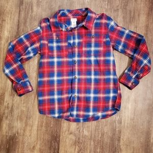 Carter's Size 10 Soft Red & Blue Button Down